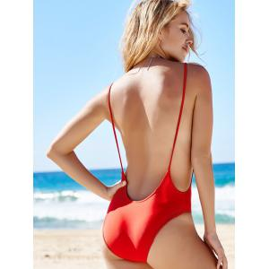 Monokini High Cut Backless One Piece Swimwear - RED S