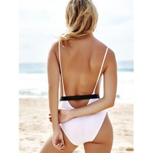 Monokini High Cut Backless One Piece Swimwear - WHITE S