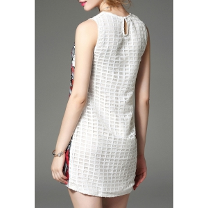Round Collar Embroidered Beaded Dress -