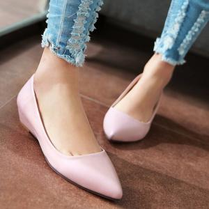 Point Toe Flat Slip On Shoes - PINK 38