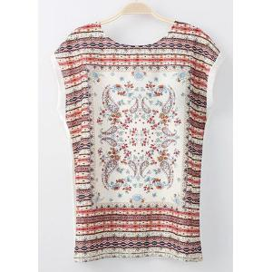 Trendy Round Collar Short Sleeves Tribal Pattern Lace-Up T-Shirt For Women