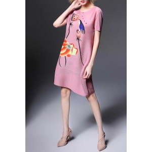 Round Collar Ruched Lotus Print Dress -