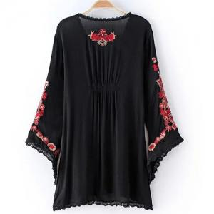 Retro Long Sleeve Embroidery Embellished Lace Spliced Women's Dress -