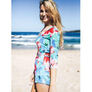 African Style Rolled Up Sleeve Flroal Print Women's Romper -