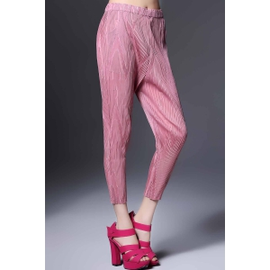 Ruched Solid Color Ninth Pants -