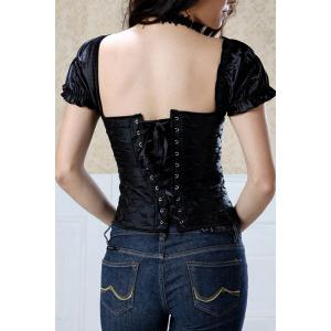 Stylish Square Neck Short Sleeves Corset For Women - BLACK 3XL