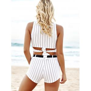 Fashionable Jewel Neck Stripe Hollow Out Crop Top + Tie-Up Shorts For Women -