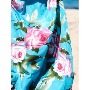 Elegant V-Neck Sleeveless Floral Printed Pleated Maxi Dress For Women -