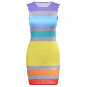Round Collar Sleeveless Colorful Bodycon Bandage Dress - Colorful - Xl
