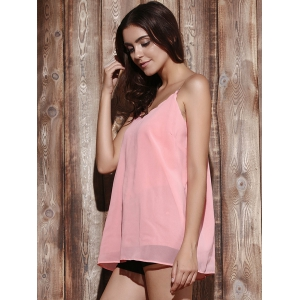 Casual V Neck Pure Color Chiffon Laciness Tank Top For Women -
