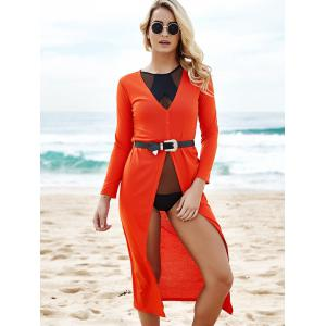 Alluring Plunging Neck 3/4 Sleeve High Slit Maxi Dress For Women - RED L