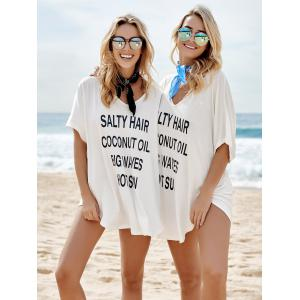 Letter Print Graphic Tunic Cover Up Dress - WHITE ONE SIZE(FIT SIZE XS TO M)