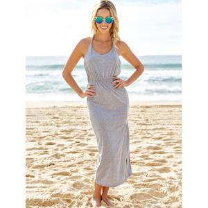 Slit Halter Neck Backless Maxi Summer Dress - GRAY S