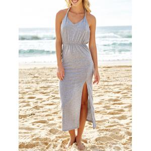 Slit Halter Backless Maxi Casual Dress