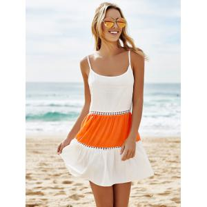 Stylish Spaghetti Strap Color Block Lace Splicing Backless Dress For Women -