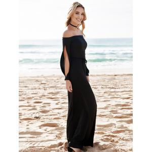 Hollow Out Casual Evening Prom Maxi Dress - BLACK M