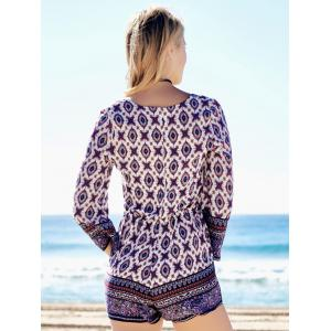 Plunging Neck Graphic Long Sleeve Romper -