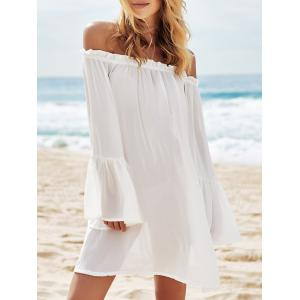 Off Shoulder Flounce Dressy Tunic Cover Up - White - One Size(fit Size Xs To M)