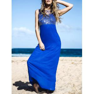 Elegant Round Neck Spliced Beading Embellished Backless Sleeveless Maxi Dress For Women - Blue - Xl