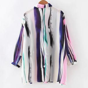Chic Women's Bat Sleeve Colorful Shirt -
