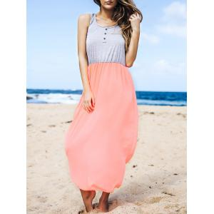 Stylish U Neck Sleeveless Button Design Color Block Women's Dress