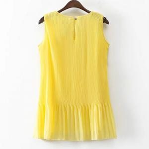 Round Neck Pleated Chiffon Tank Top -