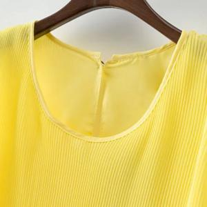 Round Neck Pleated Chiffon Tank Top - YELLOW M