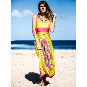 Ethnic Round Neck Sleeveless Printed Hollow Out Women's Dress -