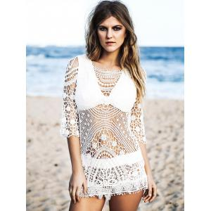 Chic Round Neck 3/4 Sleeve Hollow Out Women's Crochet Cover-Up -