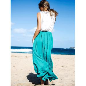 Two Tone Floor Length Maxi Swing Beach Summer Dress - WHITE AND GREEN S