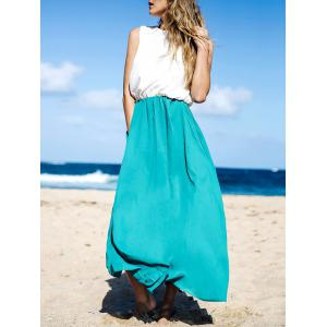 Two Tone Floor Length Maxi Swing Beach Summer Dress - White And Green - Xl