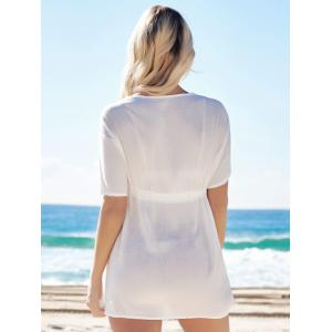 Alluring Plunging Neck Short Sleeve Cut Out Lace-Up Women's White Cover-Up -