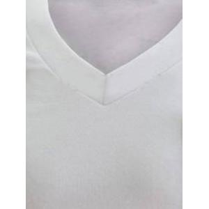 V-Neck Boutons embellies PU-cuir Edging manches longues T-shirt pour les hommes - Blanc XL