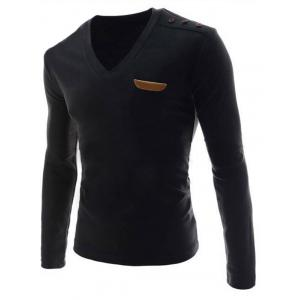 V-Neck Buttons Embellished PU-Leather Edging Long Sleeve T-Shirt For Men