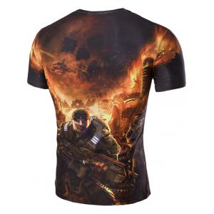 3D Soldier and Fire Print Round Neck Short Sleeves T-Shirt For Men - GREEN 2XL