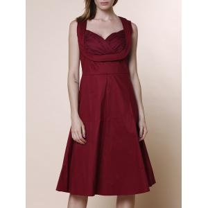 Retro Sweetheart Neck Sleeveless A-Line Ball Gown Dress - Wine Red - L