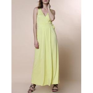 Charming V-Neck Sleeveless Waist Tied High Slit Maxi Dress For Women