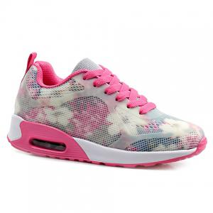 Stylish Print and Mesh Design Sneakers For Women - Pink And White - 38