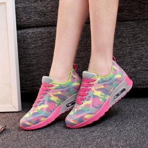 Stylish Print and Mesh Design Sneakers For Women - PINK + GREEN 40
