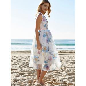 Sexy Plunging Neck Sleeveless See-Through Flower Pattern Women's Dress - WHITE L