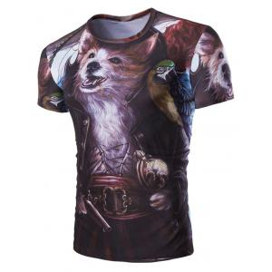 Casual Fox Printed Short Sleeves Men's T-Shirt