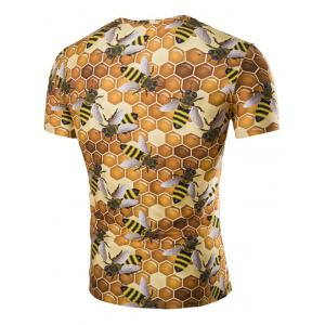 Casual Hexagon Printed Short Sleeves Men's T-Shirt - YELLOW M