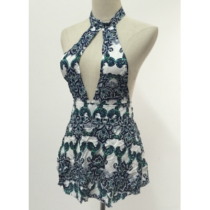 Mini Cut Out Print Open Back Dress - COLORMIX 2XL