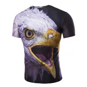3D Night Owl Print Round Neck Short Sleeves T-Shirt For Men - COLORMIX M