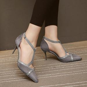 Elegant T-Strap and Pointed Toe Design Pumps For Women - GRAY 38