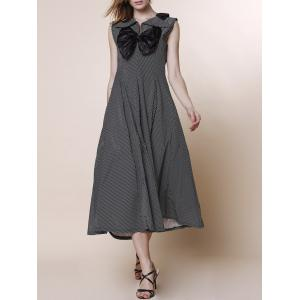 V-Neck Bowknot High Waist Ball Gown Midi Dress