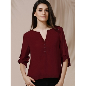 Chic Women's V-Neck Button Design Long Sleeve Blouse - WINE RED S