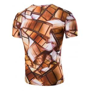 3D Vintage Style Roll Film Print Round Neck Short Sleeves T-Shirt For Men - COLORMIX L