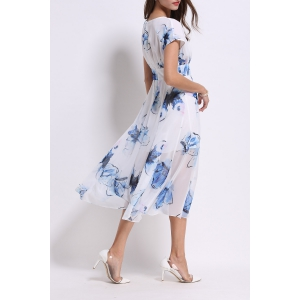 Round Collar Floral Print Mid-Calf Dress -