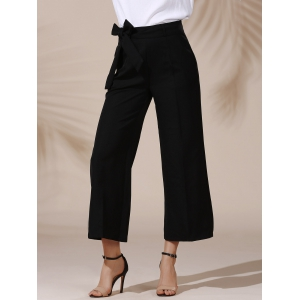Trendy Mid Waist Solid Color Self Tie Belt Loose Ankle Length Pants For Women - Black - S